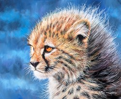 Cheetah Cub II by Pip McGarry - Original Painting on Stretched Canvas sized 12x10 inches. Available from Whitewall Galleries